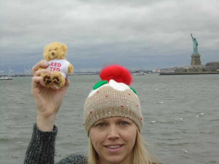 Red Ted is in New York, America. What a busy bear.