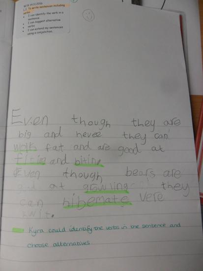 We have been writing sentences including verbs.