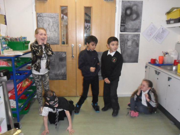 Using drama to explore a theme.
