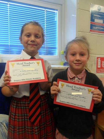 We received a Headteacher's award for our writing.