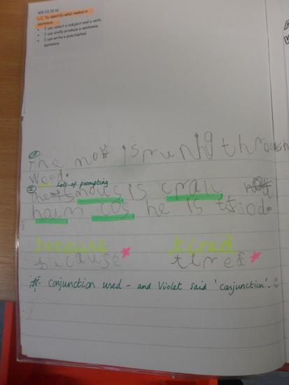 We wrote sentences about the Gruffalo.
