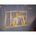 The layout of a house using blocks.