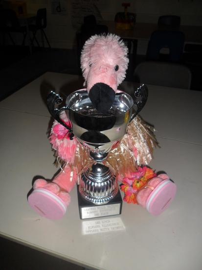 Julia the Flamingo is so proud of the class.