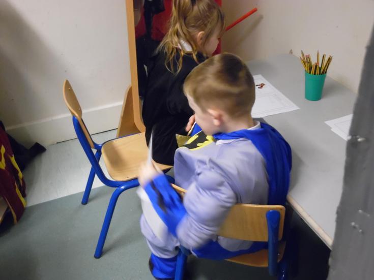 Batman writing a Superhero log