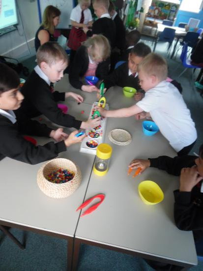 Sorting beads into colour groups within a minute