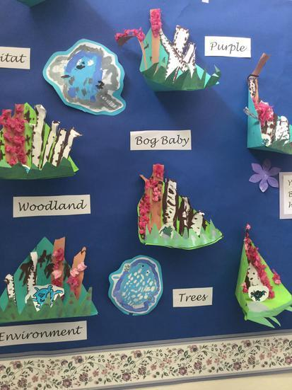 Year 1 Bog Baby Paper Sculptures and Paintings