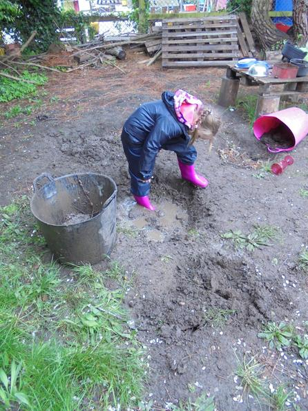 getting wellies stuck in the mud