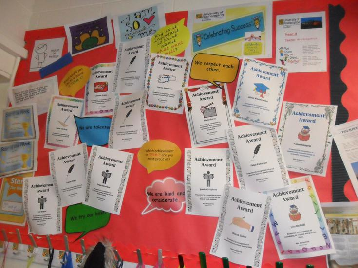 Our 'Certificates of Achievement' board.