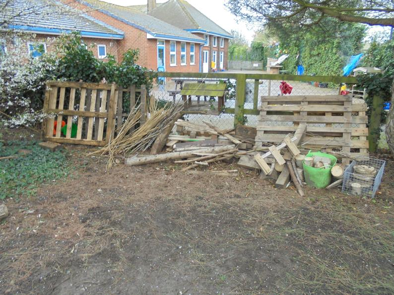 Our wood pile, great for our building experiments