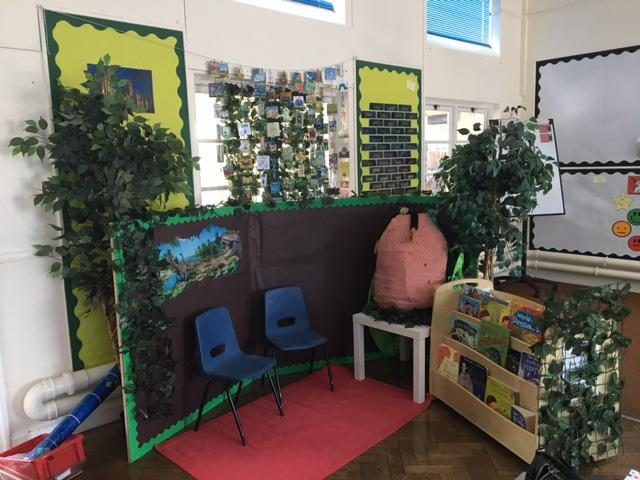 Our dinosaur reading area has great books to read.