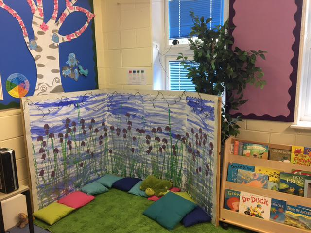 Our reading area by a magic pond.