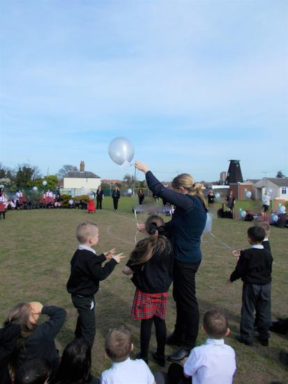 Our school council reps released the balloon.