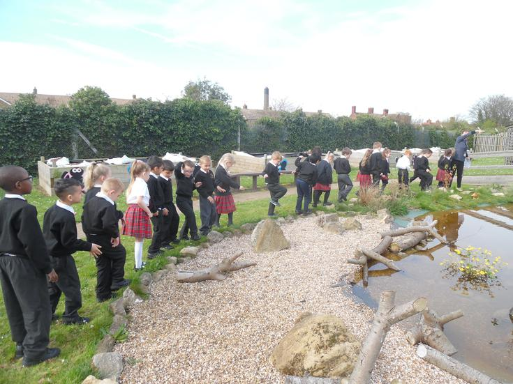 Re-telling the story with actions in the pond area