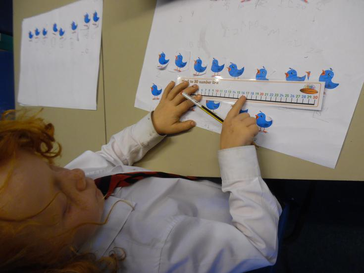 Using a number line when counting in twos