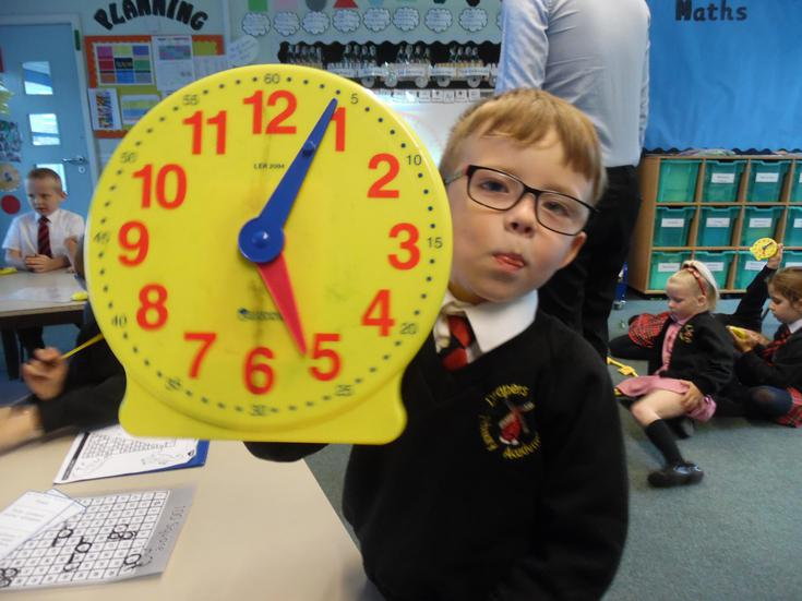 Counting in 5s to read the time