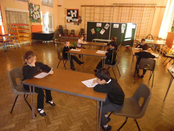 Children endeavouring in their tests