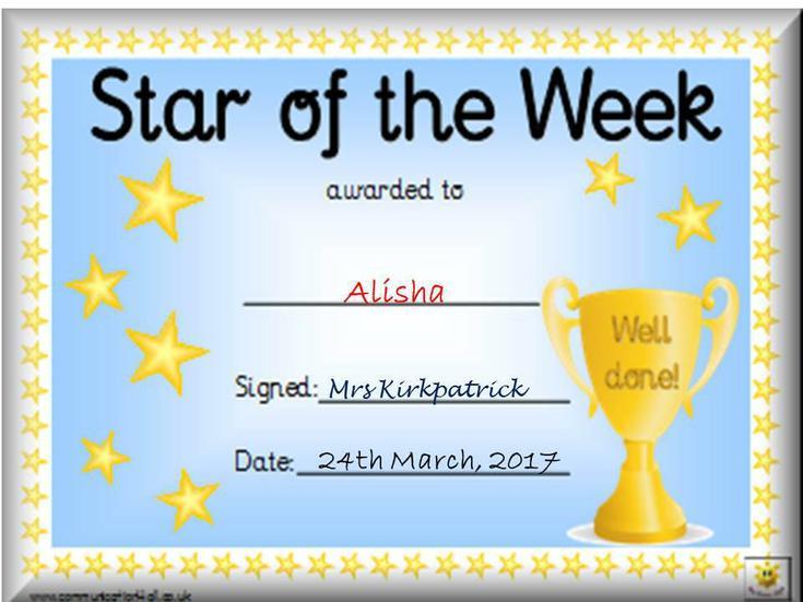 For making great progress. Well done Alisha!
