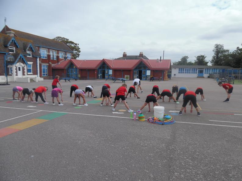 Warm-up to our first PE lesson of the year.