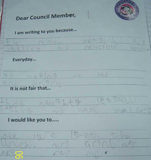 We wrote letters to the council from Mr Grinling