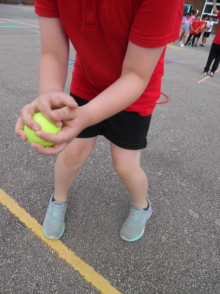 Practising our catching skills.