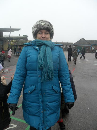 Mrs Taylor is prepared for the snow.