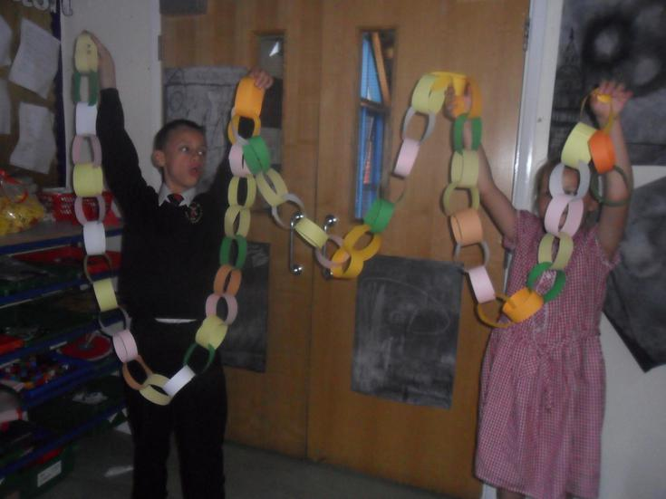 Jake: so proud of his paper-chain!