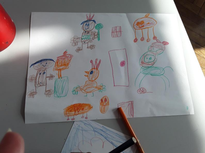 Sketching our ideas about what home means to us.