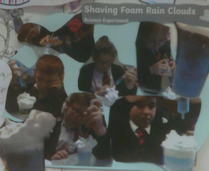Shaving foam rain clouds