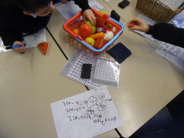 Use 100 square to support counting change for 20p