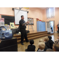 Fire Officer Andy came to talk about safety.