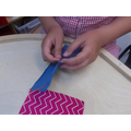 We used a back stitch for extra strength.