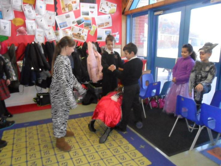 Telling a story through role-play.