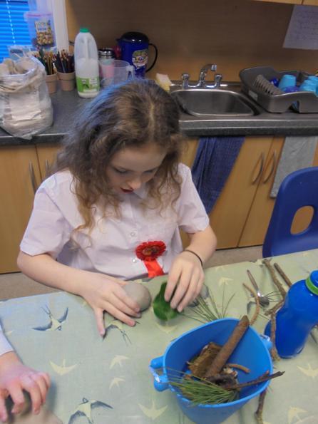 Leaf printing in clay
