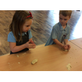 We kneaded our own bread roll.