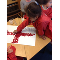 We created the English flag using tissue paper