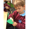 Developing our fine motor skills by threading leaves onto the beanstalk.