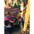 Some of the children made their  own shop outside.