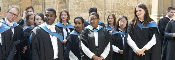 Students wearing caps and gowns