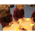 We created our own chicks  using play dough