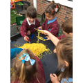 Developing our fine motor skills with scrambled snake, tweezers and scissors 🐍