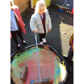 Building up those arm muscles by painting like a giant!