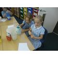 Millie and Freya measuring their 500ml medicine