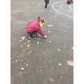 So we had to go outside to practise our handwriting and spelling.