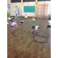 Hopping like rabbits to warm up for PE.