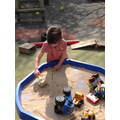 Tegan made her own sandcastle and flag