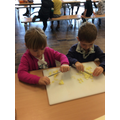 We made Gruffalo crumble, Mr Knight was impressed with our cooking skills.