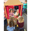 We enjoy putting on puppet shows.