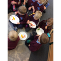We tried lots of different coloured fruit and veg.