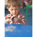Using clay is great for developing the muscles in our hands and fingers.