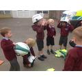 We tried in their uniform...it was a bit big!